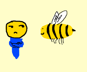 Man is slightly annoyed by bees