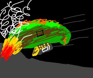 Moldy burrito blimp crashes