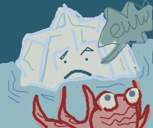 Glacier disgust by ocean creature.