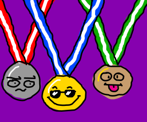 Three medals, confused, chill, tongue out