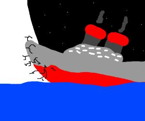 Titanic crashing into ice mountain