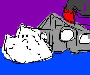 Titanic hitting an ice burg.