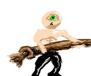 Odd eyed man plays tug of war