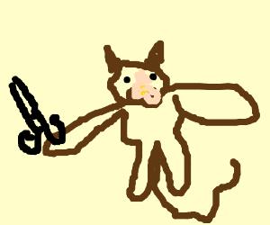 monkey with scissors