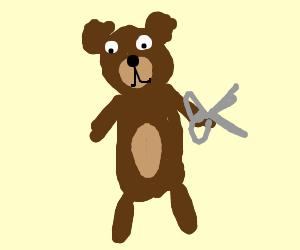 """bear holding """"scissors"""""""