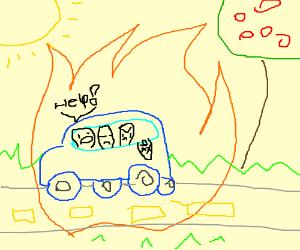 car on fire, burning the children