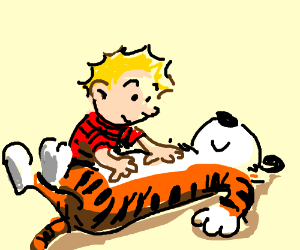 Calvin give Hobbes a belly massage