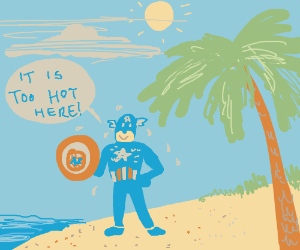 Man with shield on scorching deserted island
