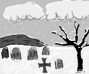 Tombstones on a grey winter day.