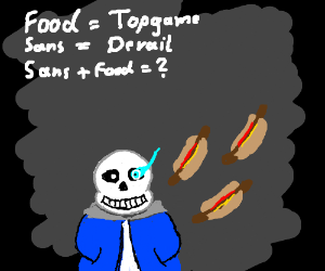 Drawception Rules: Food=Topgame. Sans=Derail