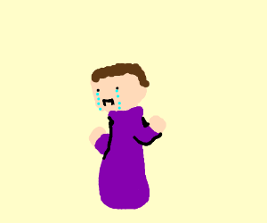 sad minecraft man in blue wizard robes drawing by eldritchhat