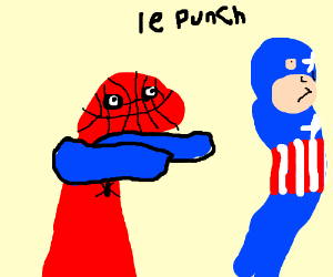 Deformed spiderman punches captain america