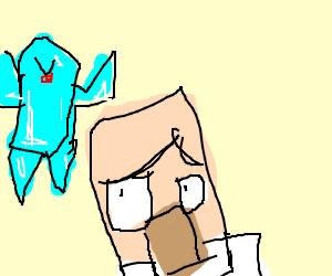 Minecraft villager runs from crystal monster