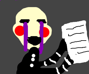 the puppet from fnaf stares at paper