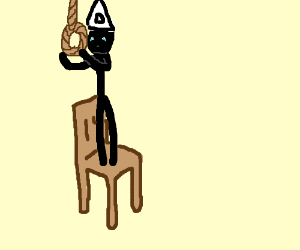 Boy with a dunce cap hanging himself.