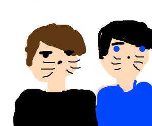 Dan and Phil with cat whiskers