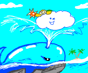Whale sprays water at happy cloud.