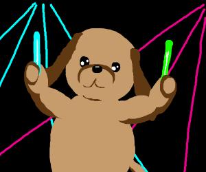 A dog at a rave