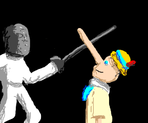 Pinocchio is fencing.