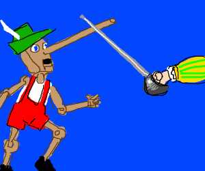 Pinocchio tries fencing! ...with his nose...