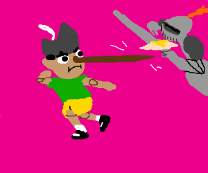 Pinocchio uses his nose as a sword in combat