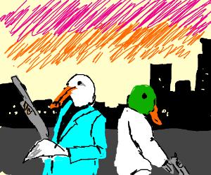 Cool seagull an duck