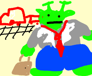 Business Shrek stands at the train station.
