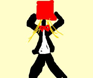 girl in tuxedo with bucket stuck on her head