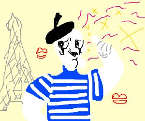 Handsome mime in Paris