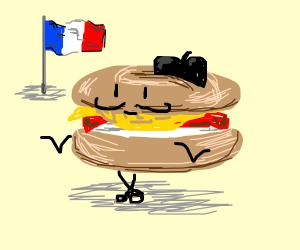 Antropomorphic french bagel