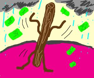 Pole dancer making that cash rain