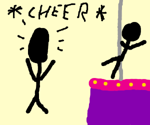 man with tall head cheers on pole dancer