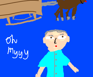 Rudolph flying over George Takei
