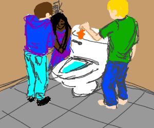 3 forlorn people gather around to flush fish