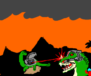 Its a Freaking Dinosaur Laser Fight!