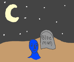 Blue man rises out of his own grave