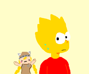 Bart Simpson is stalked by smol Viking lady