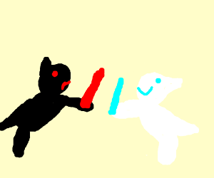 blue/white wolf vs. black/red wolf