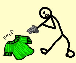 a green sweater get's gunned down