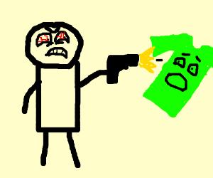 angry man shoots gun at scared green tshirt