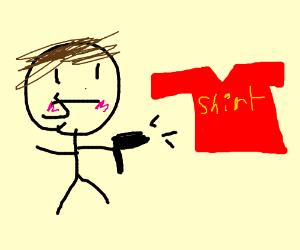 Man shoots a shirt.
