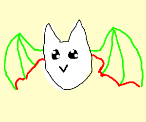 Red/green-winged, white bat