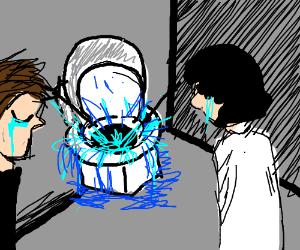 Sad family flushes a toilet
