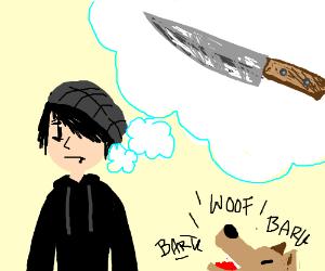 Emo boy thinking about knife with dog barking