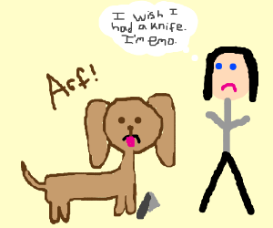 Dog aides in self harm ritual.