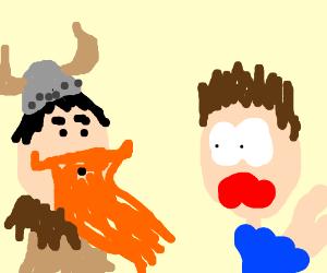 guy scared of viking
