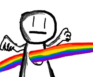 A rainbow burning a hole through a guys torso.