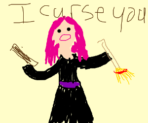 Pink hair witch curses a man