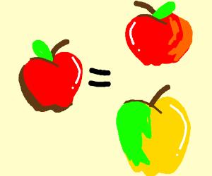 1 apple = 2 apples