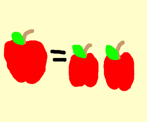 One apple equals 2 apples